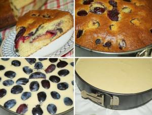 Рецепт творожного пирога со сливами