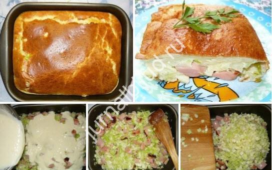 Наливной пирог с капустой и сосисками