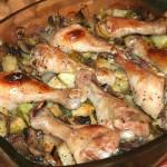 Куриные голени запеченные с грибами и овощами