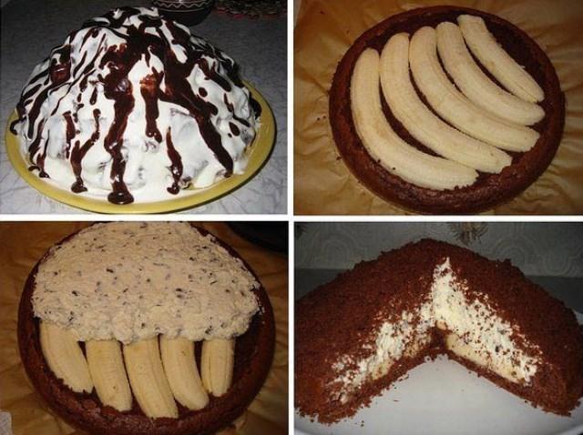 Торт Норка крота – шоколадно-сливочно-банановое удовольствие. На разрезе выглядит как из дорогой кондитерской!
