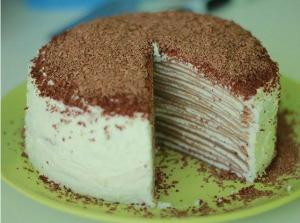 Блинный торт c шоколадно-апельсиновым кремом фото