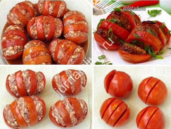 Запечённые помидоры с мясом фото