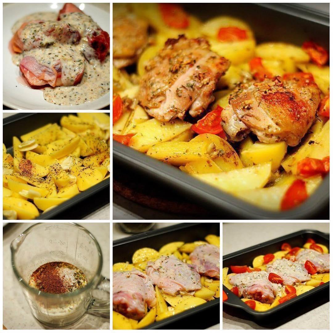 Курица маринованная в кефире, запечёная с картофелем с травами и чесноком