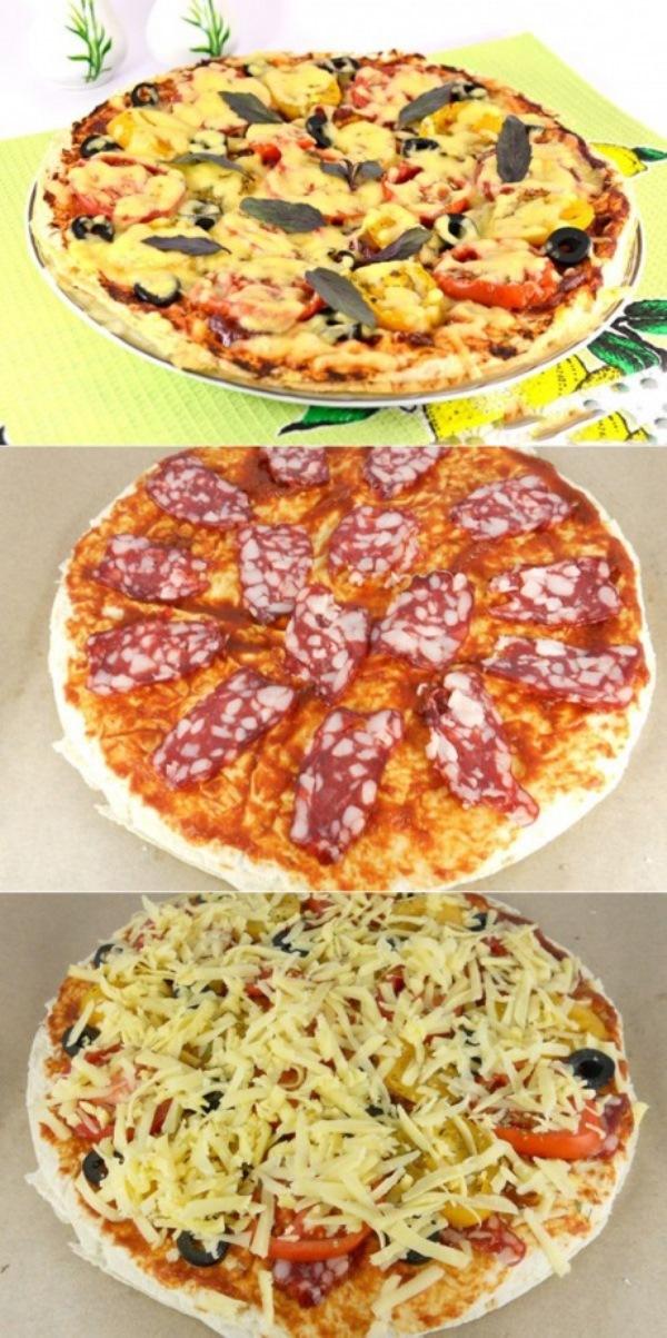 Пицца из лаваша с сыровяленой колбасой. Нежная и вкусная! Вкуснее покупной. Берем на заметку.