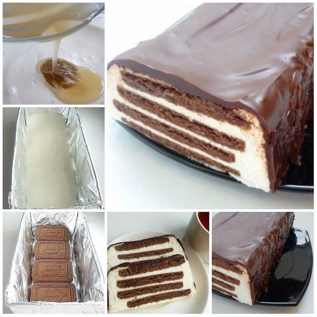 Тортик без выпечки «Полосатый»