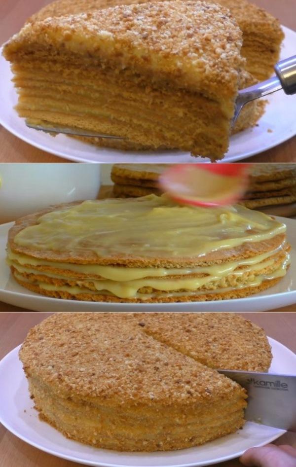 Нарезается как масло и просто тает во рту. Всеми любимый торт «Пчелка».